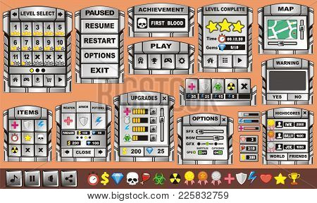 Platform Game User Interface For Tablet/ Illustration  Of A Platform Game User Interface, In Cartoon