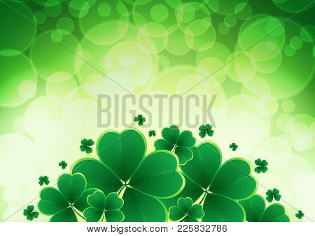 Vector Happy Saint Patricks Day Background With Clover. Vector Illustration Eps10
