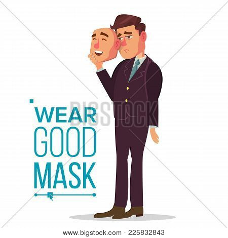 Angry Man Wear Good Mask Vector. Bad, Tired Man. Fake Person. Deceive Concept. Isolated Flat Cartoon