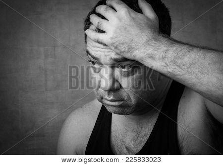 Sad man black and white portrait