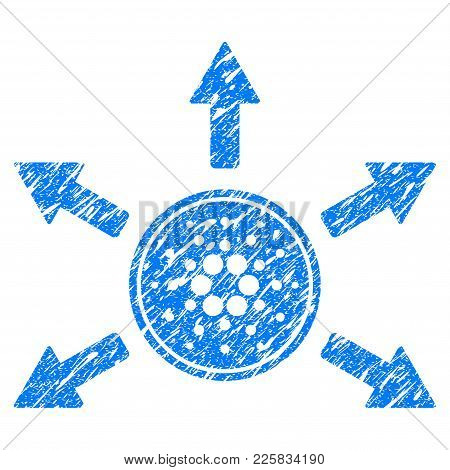 Grunge Cardano Coin Distribution Arrows Rubber Seal Stamp Watermark. Icon Symbol With Grunge Design