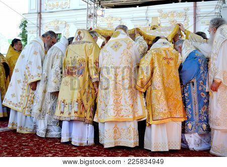 Kiev, Ukraine, Celebration Liturgy In Honor Of The Baptism Of Rus In Kiev Pechersk Lavra - 27 July 2