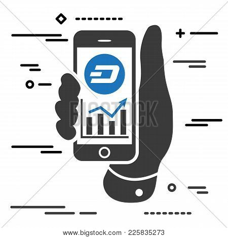Dash Cryptocurrency Profit Chart On The Screen Of Phone