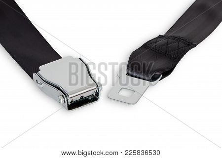 Unfastened Airplane Safety Belt Close-up Isolated On White Background
