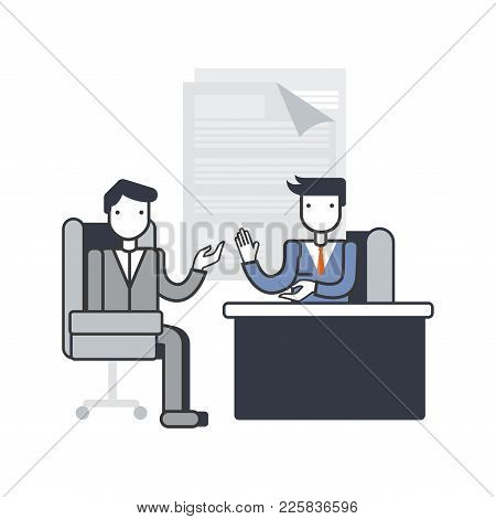 Job Interview Concept, Discussion. Interview With The Candidate Positions. Outline Vintage Style