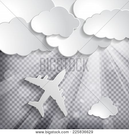 Paper Airplane With Paper Clouds And Light Beams With Sun Rays On A Chequered Background