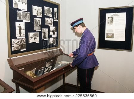 St. Petersburg, Russia - 7 May, A Policeman At The Window, 7 May, 2017. Exhibition Of The Nkvd Durin
