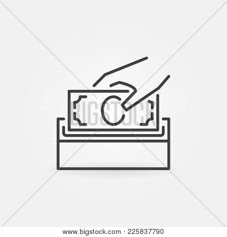 Donate Money Vector Icon. Donation Box Symbol In Thin Line Style