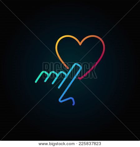 Hand Pointing Heart Vector Colored Outline Icon Or Sign On Dark Background