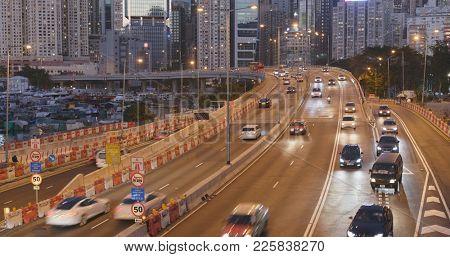 Causeway Bay, Hong Kong, 14 January 2018:- Hong Kong city traffic
