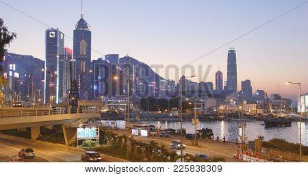 Causeway Bay, Hong Kong, 14 January 2018:- Hong Kong urban city night