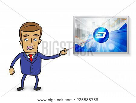 Cute Businessman Pointing At Dash Cryptocurrency In The Bright Rays On Background With Statistics Ch
