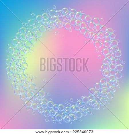 Shampoo Bubbles On Gradient Background. Realistic Water Bubbles 3d. Cool Rainbow Colored Liquid Foam