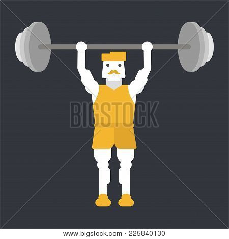 Strong Bodybuilder Sportsman Lifting Heavyweight Barbell Over His Head, Weightlifting Sport.