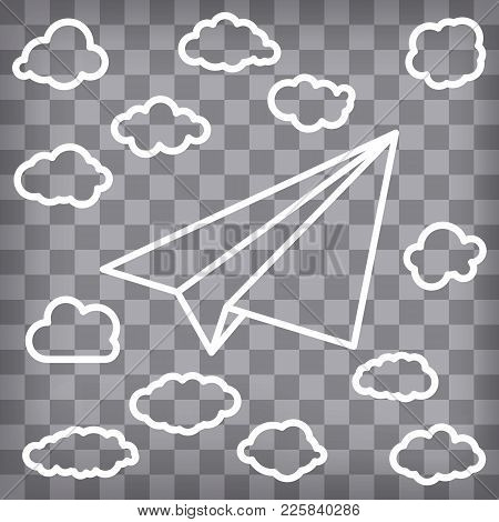 White Linear Paper Airplane With Clouds On The Chequered Background