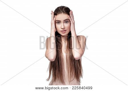 Sad Woman Isolated On White Background. Concept I Do Not Want To Hear Anything