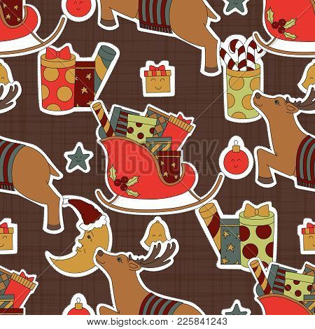 Textiles Brown Christmas. Reindeer, Gifts, Candy And Moon Vector Illustration. Seamless Pattern Back