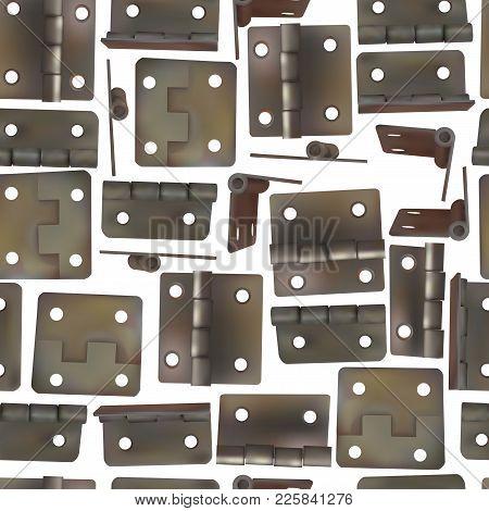 Hinge For Doors Vector Illustration. Seamless Pattern Background Of Brass, Golden Or Bronze Industri