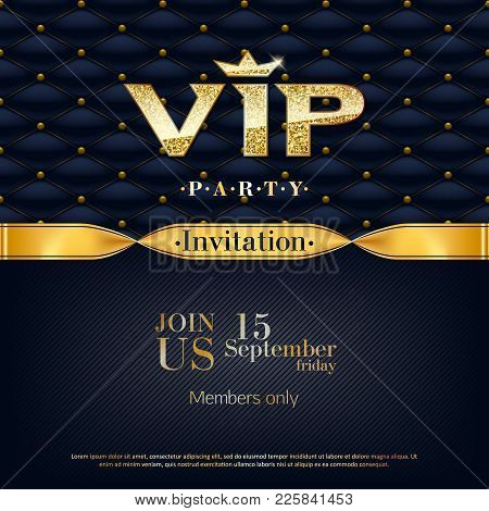 Vip Party Premium Invitation Card Poster Flyer. Black And Golden Design Template. Quilted Pattern De