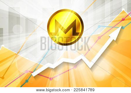 Monero Cryptocurrency In The Bright Rays On Background With Statistics Chart And Arrow Going Up