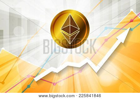 Ethereum Cryptocurrency In The Bright Rays On Background With Statistics Chart And Arrow Going Up