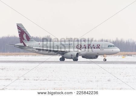 Airbus A320 Qatar Airways Airlines, Airport Pulkovo, Russia, Saint-petersburg February 04. 2018