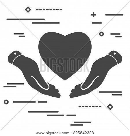Line Art Flat Heart Icon In Hands On White Background