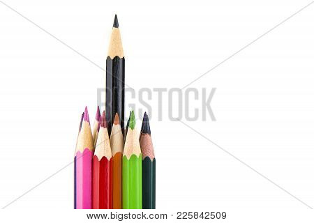 Sharpened Colored Pencils On The White Background