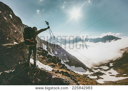 Traveler Man With Backpack On Mountain Summit Travel Success Lifestyle Survival Concept Adventure Ou
