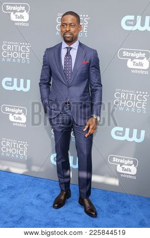 Sterling K. Brown at the 23rd Annual Critics' Choice Awards held at the Barker Hangar in Santa Monica, USA on January 11, 2018.