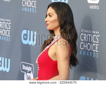 Olivia Munn at the 23rd Annual Critics' Choice Awards held at the Barker Hangar in Santa Monica, USA on January 11, 2018.