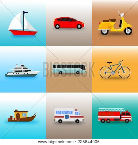 Set Of Public Transportation Vector Illustration Graphic Design