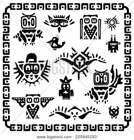 Set Of Tribal Owls. Ancient Maya Elements And Symbols. Black And White Silhouette Of Birds. Cartoon