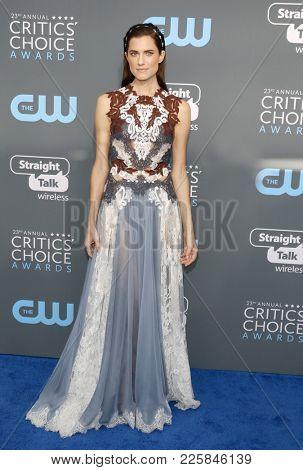 Allison Williams at the 23rd Annual Critics' Choice Awards held at the Barker Hangar in Santa Monica, USA on January 11, 2018.
