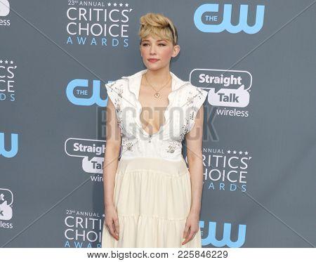 Haley Bennett at the 23rd Annual Critics' Choice Awards held at the Barker Hangar in Santa Monica, USA on January 11, 2018.