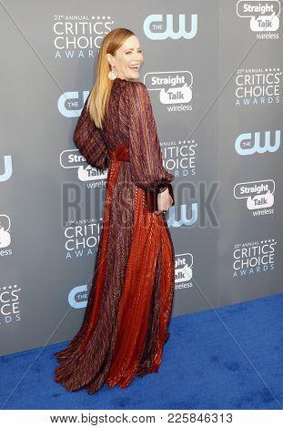 Leslie Mann at the 23rd Annual Critics' Choice Awards held at the Barker Hangar in Santa Monica, USA on January 11, 2018.