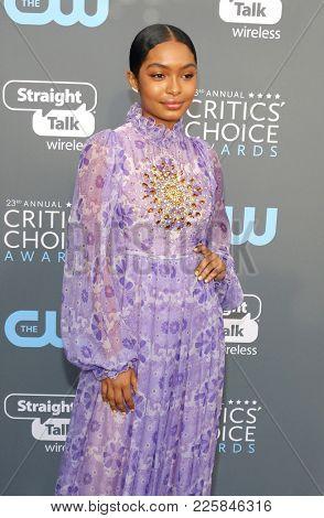 Yara Shahidi at the 23rd Annual Critics' Choice Awards held at the Barker Hangar in Santa Monica, USA on January 11, 2018.