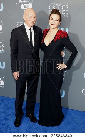 Patrick Stewart and Sunny Ozell at the 23rd Annual Critics' Choice Awards held at the Barker Hangar in Santa Monica, USA on January 11, 2018.