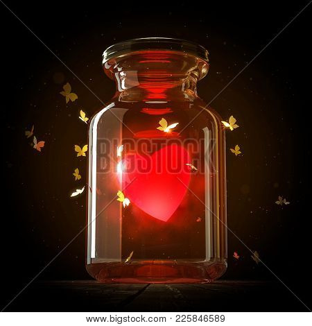 Glass Jar With Magic Shining Heart And Butterflies Flying Around It On Dark Background, Valentines D