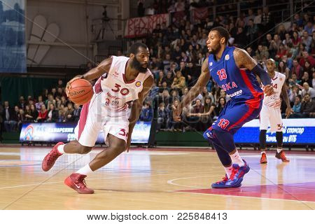 Samara, Russia - December 01: Bc Krasnye Krylia Forward Julian Wright #30 Drives To The Basket Durin