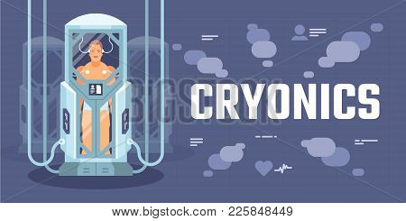 Futuristic Cryogenic Capsules Or Containers With Humans On Spaceship Or Space Shuttle Science