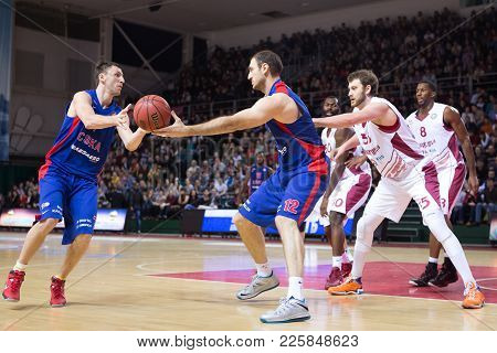Samara, Russia - December 01: Bc Cska Center Nenad Krstic #12 Does A Pass After Screen During The Bc