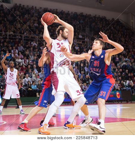 Samara, Russia - December 01: Bc Krasnye Krylia Center Artem Zabelin #35 With Ball During The Bc Csk
