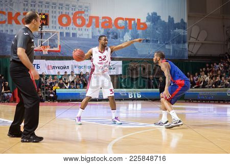 Samara, Russia - December 01: Bc Krasnye Krylia Guard Aaron Miles #32 With Ball During The Bc Cska B