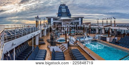 New Jersey-may 22: A Panoramic View On-board The Celebrity Summit Cruise Ship As It Set Sails Off Th