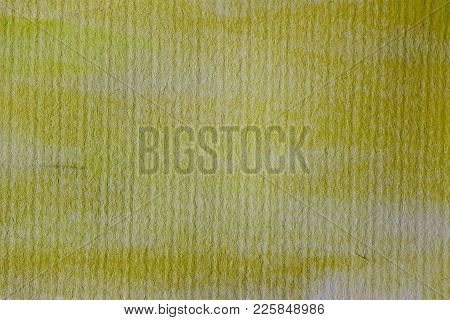Yellow Watercolor Background On Textured Paper. Yellow Abstract Watercolor Texture And Background Fo