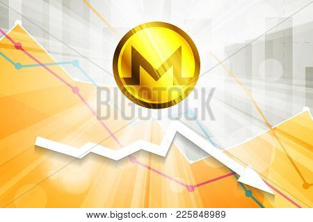 Monero Cryptocurrency In The Bright Rays On Background With Statistics Chart And Arrow Going Down