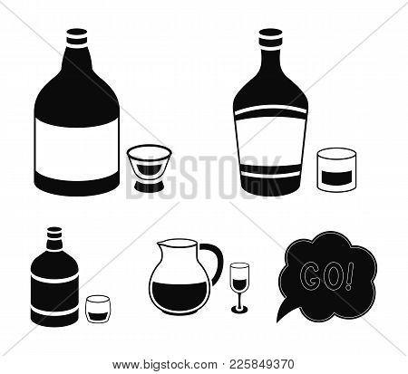 Liquor, Sangria, Tequila, Whiskey.alcohol Set Collection Icons In Black Style Vector Symbol Stock Il