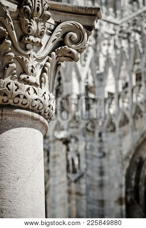 Series Of Architectural Details Of The Milan Cathedral Spire.