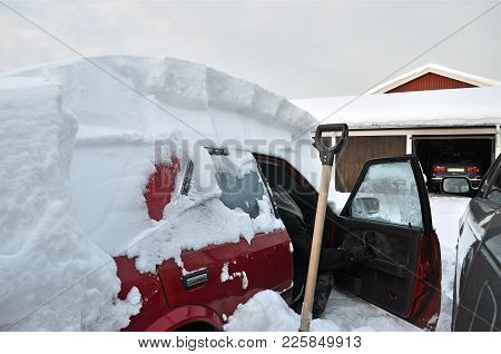 Car In Winter In The North Of Scandinavia